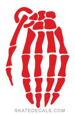 2 Grenade Gloves Hand Bones Stickers Decals